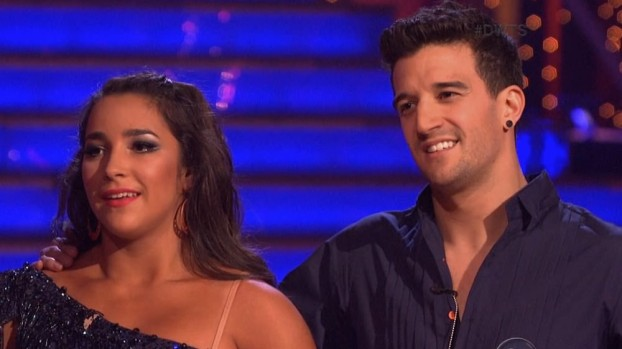 Aly Raisman and Mark Ballas dance the samba on Dancing With The Stars side by side with two pro dancers.
