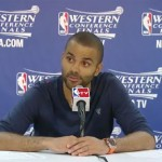 Photo shows San Antonio point guard Tony Parker  in an interview with the press after they defeated the Memphis Grizzlies in gami of the Western Conference finals on May 21, 2013.