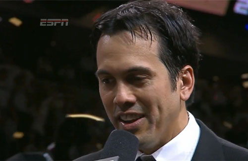 Photo shows Miami Heat Coach, Erik Spoelstra, speaking with the press after winning Game 7 and the 2013 NBA Championship.