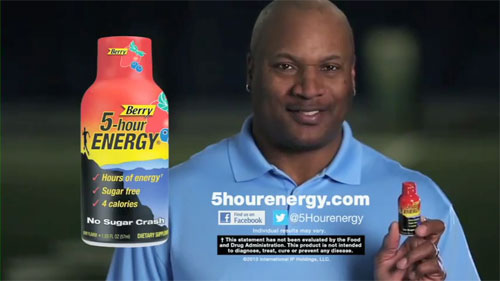 Athletes with a positive public image like Bo Jackson are role models and consumers tend to believe them when they endorse a product, says booking agent Sports Speakers 360. Photo shows Bo Jackson's endorsement of 5-Hour ENERGY drink .