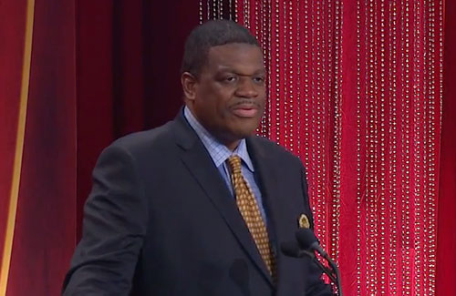 Photo shows former New York Knicks and Washington Bullets  forward, Bernard King, delivering his Hall of Fame speech after being inducted into the Naismith Memorial Basketball Hall of Fame on September 8, 2013.