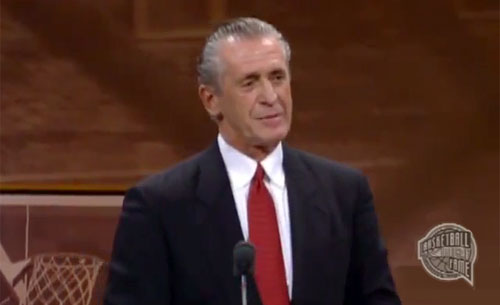 "Photo shows Pat Riley delivering his 2008 speech upon being enshrined to the Naismith Memorial Basketball Hall of Fame. Riley has earned the title of ""America's Greatest Motivational Speaker."""