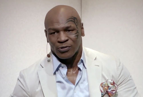 Photo shows Mike Tyson speaking from a trailer of his upcoming HBO film: Mike Tyson: Undisputed Truth, which airs on HBO November 16, 2013 at 8:p.m.