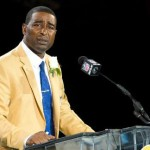 Photo shows Cris Carter delivering his Pro Football Hall of Fame Speech.