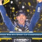 Photo shows Jimmie Johnson winning his sixthe NASCAR Championship on Sunday, November 17, 2013 in Florida.