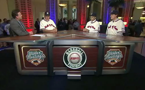 Photo shows former baseball mangers, Bobby Cox, Joe Torre & Tony LaRussa speaking to ESPN after they were elected to the Baseball hall of Fame on December 9, 2013.