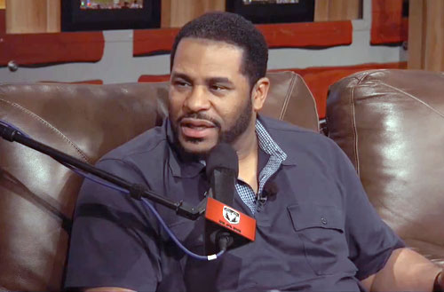 Photo shows Jerome Bettis speaking with Dan Patrick in a February 1, 2013 interview.