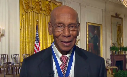 Photo shows Mr. Cub' Hall of Famer Ernie Banks speaking with CNN November 2013 shortly after receiving the Presidential Medal of Freedom.
