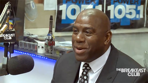 Photo shows magic Johnson speaking n Feb 2014 with the Breakfast Club Power.