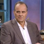 Photo shows former MLB manager,  Joe Torre, speaking to FOXSports about his Hall of Fame induction phone call.