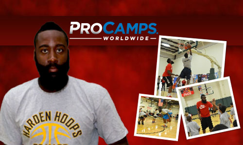Photo shows Houston Rockets All-Star Guard James Harden appearing at 2014 ProCamp