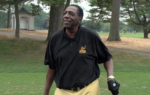 Photo shows Basketball legend, Meadowlark Lemon giving back at the 2014 Joe Namath Celebrity Golf Classic