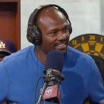Photo shows Harold Reynolds speaking with Dan Patrick in September 2014.