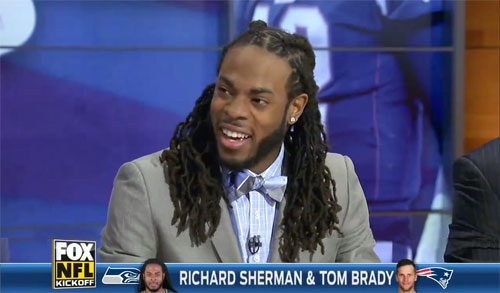 Photo shows Richard Sherman speaking with Fox Sports about Tom Brady in 2013.