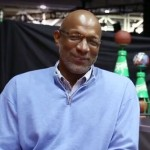 Photo shows Clyde Drexler speaking about his Mt Rushmore picks with Complex News Feb. 2014.