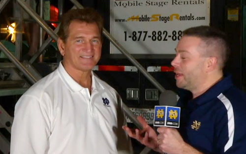 Photo shows Joe Theismann speaking about BCS championship in a Jan. 2013 interbiew.