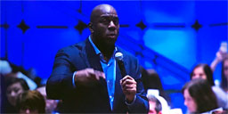 U.S. Magic Johnson Speaking Event Big Screen